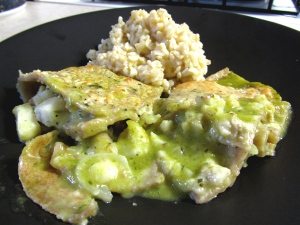 Fish Enchiladas with Poblano Sauce and Green Chile Rice