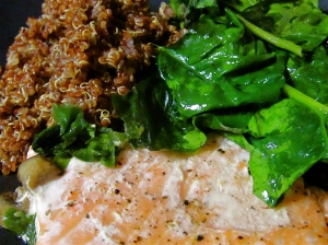 Baked Salmon, Spinach, and Chai flavored Red Quinoa