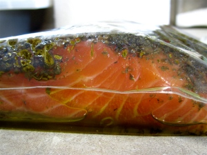 Salmon in marinade