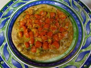 Tomato Basil Tortilla Pizza