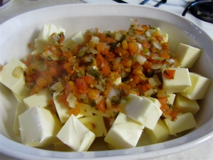 White velveeta with fresh pico de gallo