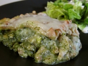 Pork Spinach Lasagna with Alfredo Sauce
