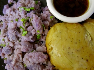 Chicken Adobo with Purple Mashed Potatoes