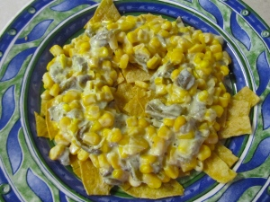 Sweet Corn and Poblano Chilaquiles