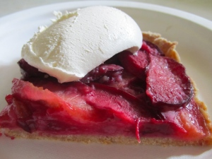 Plum Pie with Whipped Cream