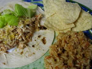 Shredded Chicken Taco with Mexican Rice