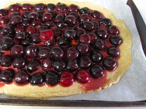 Line Cherries on pastry