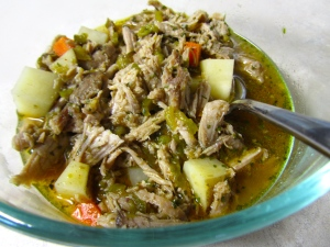 Green Chili Pulled Pork Stew