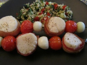 Skewered Bacon-Wrapped Scallops with Basmati Rice Tabbouleh