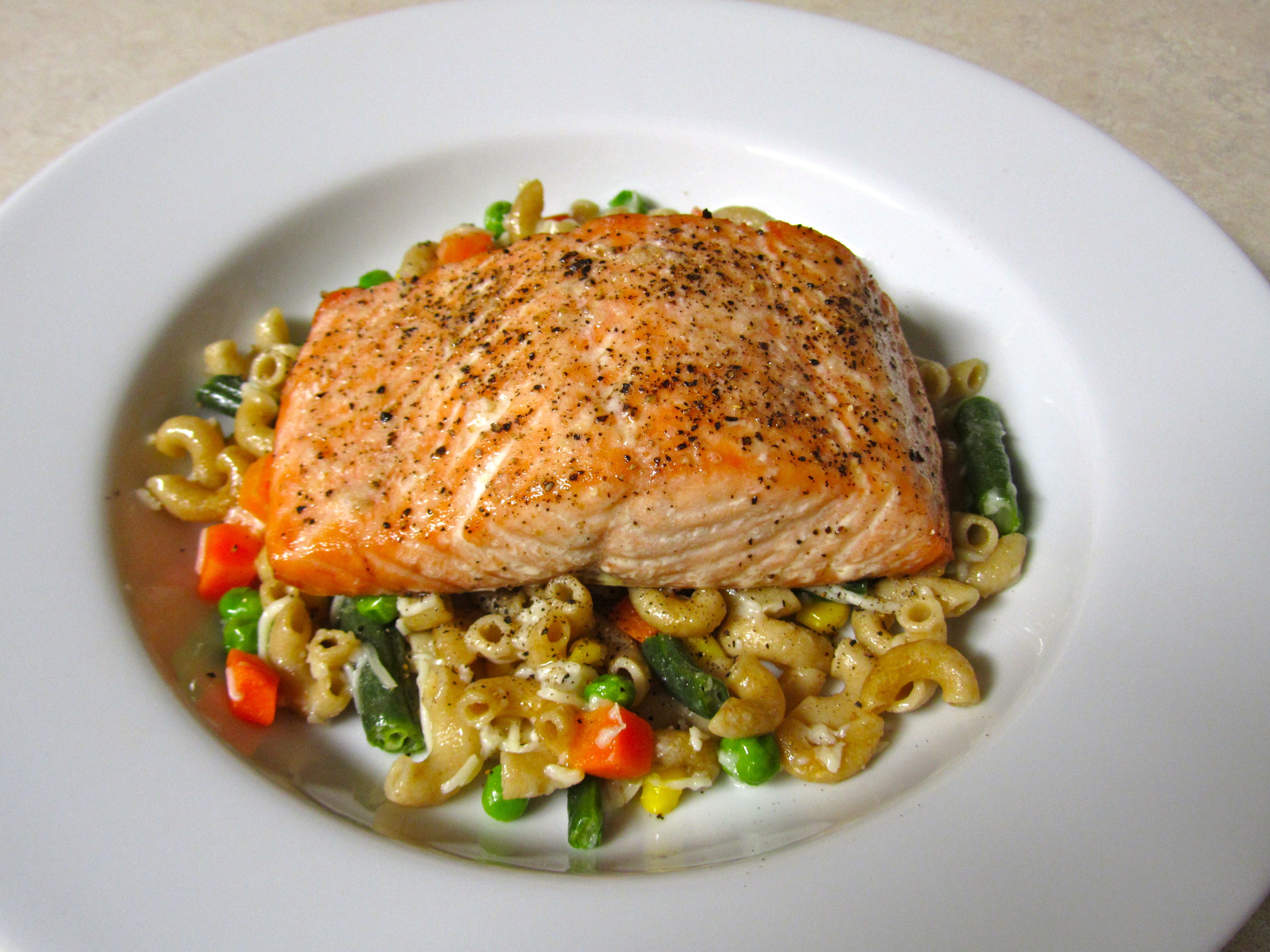 Baked Salmon over Pasta with Vegetables & Healthy Dinner | Gourmet Memoirs