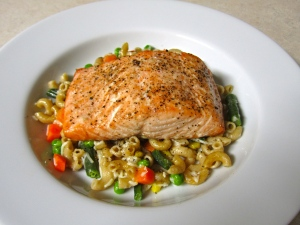 Baked Salmon over Pasta with Vegetables